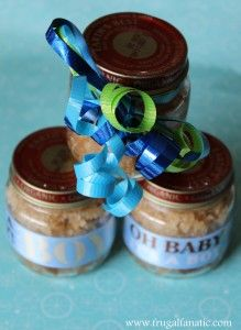 Homemade Sugar Scrub Baby Shower Favor. Put all the baby food in ice trays to freeze.