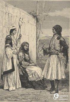 """Ασπρόμαυρο σκίτσο δυο γυναικών με τοπικές ενδυμασίες Αττικής και ενός άνδρα με φουστανέλα. Επιγραφές: """"SND"""", """"J(;). LAPLANTE"""", """"PEASANTS FROM THE ENVIRONS OF ATHENS"""". Από την έκδοση: """"The Earth and its Inhabitants: Europe (Volume 1)"""", Reclus Elisée, εκδ. D. Appleton and Company. Δημιουργός: D. Appleton & Co. Ημερομηνία Δημιουργίας: 1883. Συλλέκτης: Peloponnesian Folklore Foundation Ίδρυμα: Europeana Fashion. Συλλέκτης: Peloponnesian Folklore Foundation Ίδρυμα: Europeana Fashion"""