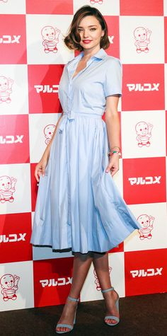 Miranda Kerr was perfectly pretty during a promotional event for Marukome Miso in Japan, selecting a crisp light blue shirtdress and a pair of matching sky blue stacked heels for the occasion.
