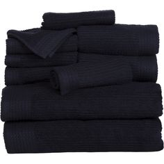 10 Piece Egyptian Cotton Towel Set Color: Black ($32) ❤ liked on Polyvore featuring home, bed & bath, bath, bath towels, egyptian cotton bath towels, black towel set, plush bath towels, ribbed bath towels and colored bath towels