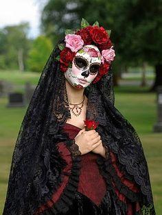 Dia de Los Muertos very traditional lace dress and mantilla to go with sugar skull face.