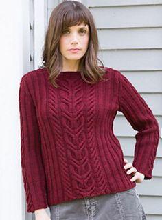 Пуловер спицами с косами для женщин