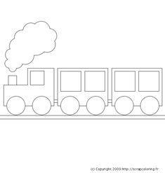 Drawing Lessons For Kids, Easy Drawings For Kids, Train Coloring Pages, Coloring Pages For Kids, Train Template, Train Crafts, Circus Crafts, Train Drawing, Polar Express Train