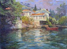 Ayhan Türker – Körfezde Yalılar Turkey Art, Water Marbling, Impressionist Landscape, Shorebirds, Paintings I Love, Oil Paintings, Beautiful World, New Art, Istanbul
