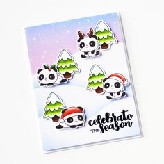 Stamps: Christmas Panda Plushies, Winter Plushies / Stencils: Freshly Cut Christmas Panda, Merry Christmas, Christmas Ideas, Copic Sketch Markers, Ink Stamps, Babies First Christmas, Ink Pads, Xmas Cards, Clear Stamps