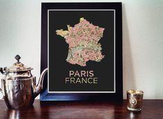 Paris Map Print  Paris Print  France Print  Paris by AGierDesign, $16.99