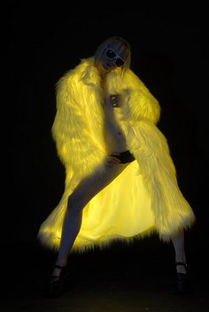 ElectroFur Coat with White Fur and Yellow Glow Cyberpunk, Pink Fur Coat, Burlesque Costumes, Petite Fashion, Curvy Fashion, Fall Fashion, Glow Party, White Fur, Mellow Yellow