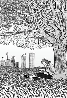 Cartoon man sits under Sydney tree reading a book.  Image from Stuart McMillen's comic Thin Air.