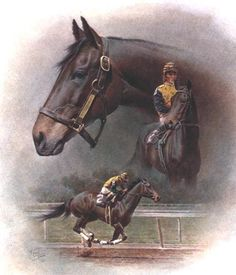 """Forego"" - Collectible Race Horse & Equine Art Prints By Fred Stone. """