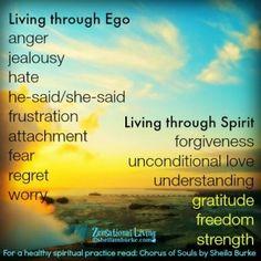 Living thru ego vs living thru spirit. Spiritual Wisdom, Spiritual Awakening, Spiritual Growth, Positive Words, Positive Vibes, Ego Vs Soul, Ego Quotes, Zen, Spiritual Practices