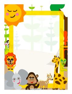 Whimsical jungle creatures decorate this colorful border. Free to download and print.