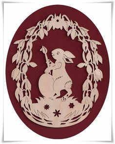 Fensterbild Hase mit Pinsel natur 23 cm Ostern Holz