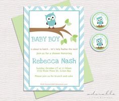 Printable Baby Boy Shower Invitation - DIY. Little Owl. It's a boy! Owl Baby Shower invitation, cupcake toppers and thank you tag. on Etsy, $15.00