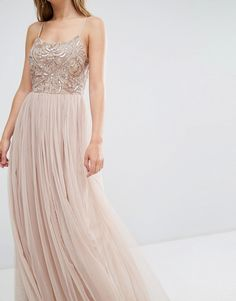 Image 3 of Maya Cami Strap Maxi Dress with Tulle Skirt and Embellishment