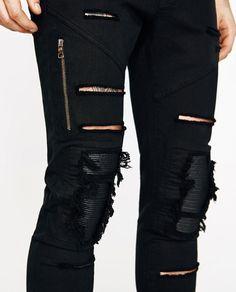 Imagen 3 de PANTALÓN ROTOS de Zara Boys Jeans, Jeans Pants, Denim Jeans, Black Jeans, Badass Outfit, Casual Wear For Men, Ripped Skinny Jeans, Style Me, Casual Outfits