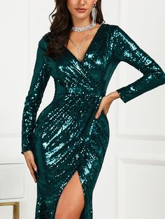 b1a682ec84c boutiquefeel   Wrap Ruched Irregular Sequin Party Dresses