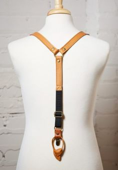 Amazon.com: Camel Leather Suspenders with Camel - Navy Bow Tie: Handmade