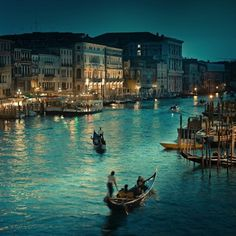The canals of Venice at night.