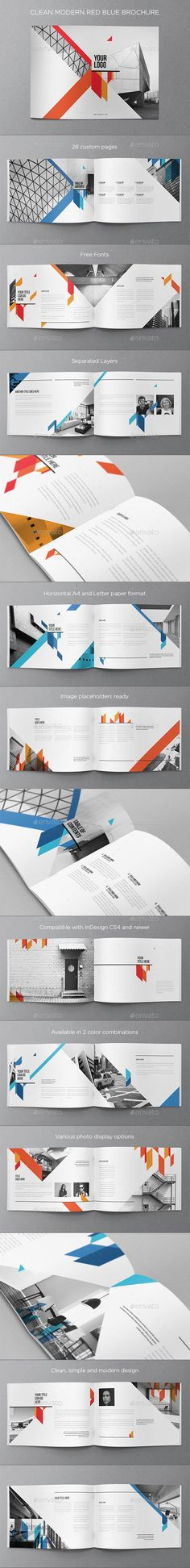 Clean Modern Red Blue Brochure Template #design Download: http://graphicriver.net/item/clean-modern-red-blue-brochure/10410539?ref=ksioks