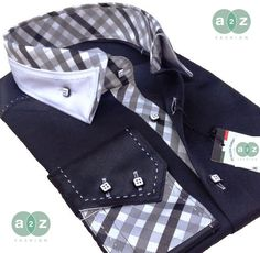 Brand New Men's Formal, Smart, Black with White Double Collar Casual Italian Design Slim Fit Shirt, with Contrast White, Black, and a Blend of Greys Checks - NEW DESIGN - S - 4XL