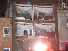 Storm rips facade off 4-story apartment building in Manhattan
