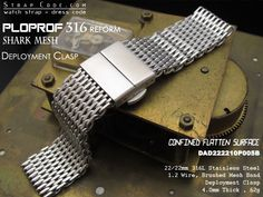 Item number  DAD222210B005BXX Brand Name  SHARK Mesh Band  Ploprof 316 Reform Lug width  Options of 21mm or 22mm Buckle size  22mm Buckle Include  Yes Buckle type  316L Stainless Steel Deployant Clasp Polished Overall Length  Please select suitable length from options provided Thickness  Mesh 40mm Spring bar  hole dia  Included 178mm dia Design to fit  All watches with 21mm or 22mm lug width Material  316L Stainless Steel 12 Wire Mesh Color  Finish  Confined Flatten Surface Brushed Finish…