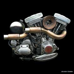 No 72: HARLEY DAVIDSON EVOLUTION BOBBER ENGINE | by Gordon Calder