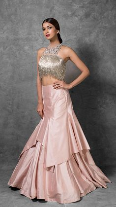 Nude Net Crop Top with Silver Tassels and a Rose Pink fit and flare skirt