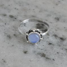 This week Summer/Father's Day offer:Get 25% discount on Min Purchase $25 coupon code - SUM15 for all products.  Classic Design Ring Blue Chalcedony Gemstone by DevmuktiJewels