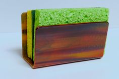 Sponge Holder  Shades of Maroon and Maize by LynnesArtGlass