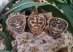 Wooden Tiki Guitar Picks Laser Etched by TheMoonShineStudio