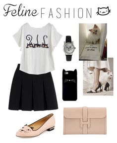 """Feline Fashion II"" by minni15 ❤ liked on Polyvore featuring Alexander Wang, Charlotte Olympia, Olivia Pratt, Hermès, Forever 21 and Karl Lagerfeld"