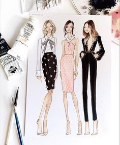 Take our FREE Online fashion design courses and learn Fashion drawing, Fashion illustration, Coloring body and Face, Drawing clothes and garments. Moda Fashion, Fashion Art, Trendy Fashion, Girl Fashion, Fashion Trends, Fashion Styles, Fashion Outfits, Fashion Design Classes, Fashion Design Drawings