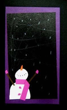 Happy snowman in the night, add cute bright lights into the sky, snow with toothbrushes and patterned scarves.