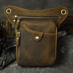 Men Genuine Leather Outdoor Hiking Motorcycle Fanny Waist Pack Drop Leg Hip Bags