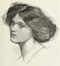 john waterhouse drawings | Head of a Girl by John William Waterhouse, 1849-1917