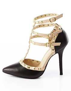 e420c4c1c7f Studded Strappy Pointed Toe Pumps  CharlotteRusse  pumps  shoes  studs