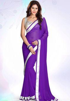 Purple Embellished Saree