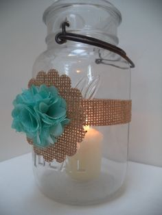 10 Rustic Mason Jar Mint Burlap Wedding Candle Centerpiece Decorations AU34