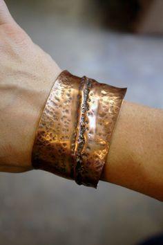 Copper Cuff Bracelet Diagonal Fold Formed by TheKiwaHirsuta
