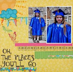 The Places You'll Go Scrapbook Layout via Michael's