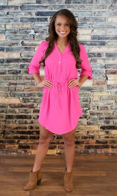 The Pink Lily Boutique - Hot Pink Tie Tunic Dress, $42.00 (http://thepinklilyboutique.com/hot-pink-tie-tunic-dress/)