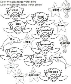 Regular past tense verbs ed ending.  The coloring part will help the students stay interested.