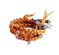 Chocolate wraparound bracelet in deerskin leather with charms
