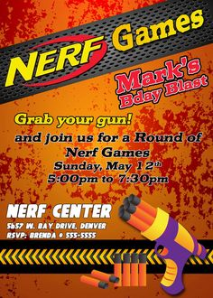 Nerf Wars Party Top Party Themes Pinterest Nerf War Nerf - Party invitation template: nerf war party invitation template