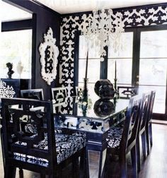Intense Black and White Dinning Room but absolutely Love the mirrored table