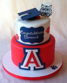 University of Arizona Wildcats themed graduation cake College Graduation Cakes, Graduation Party Planning, Graduation Cookies, Graduation Party Decor, Graduation Ideas, Cake University, University Of Arizona, First Communion Cakes, Paris Cakes