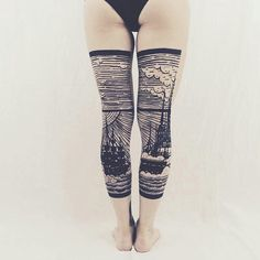 #blackline #boldline #ocean #sailboat #clouds #leg #tattoo