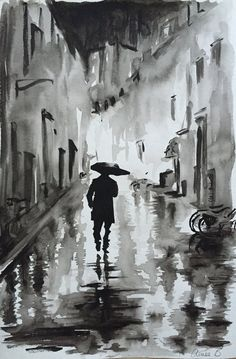 Man in the Rain ORIGINAL PAINTING by Aimee Bramall