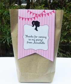 barbie party favor tags